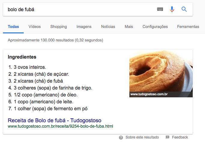 Snippet do Google para SEO